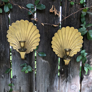 Vintage Brass Shell  Wall Sconces